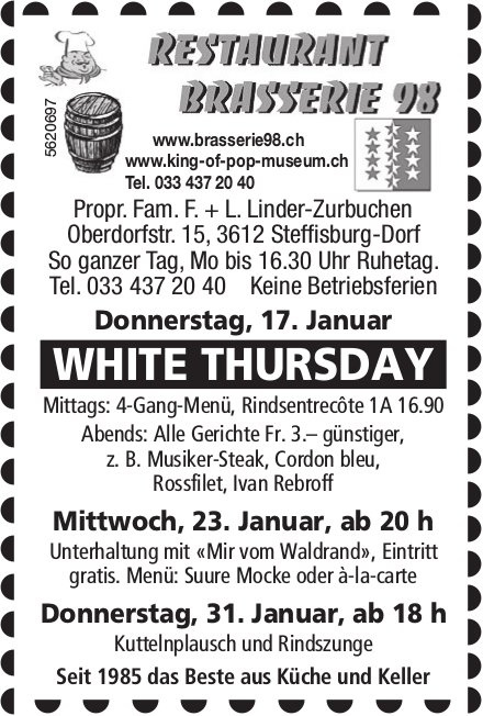 Restaurant Brasserie 98 - White Thursday am 17. Januar + Programm & Events