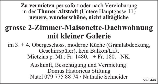 Grosse 2-Zimmer-Maisonette-Dachwohnung in der Thuner Altstadt zu vermieten