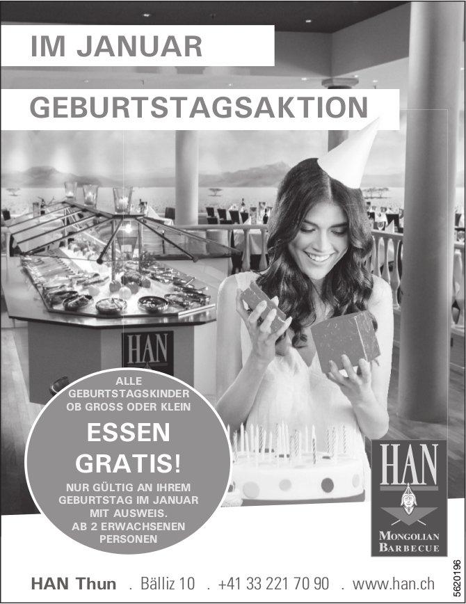 HAN Thun - GEBURTSTAGSAKTION IM JANUAR