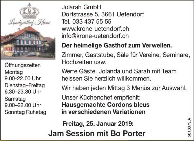 Landgasthof Krone, Uetendorf - Jam Session mit Bo Porter am 25. Januar
