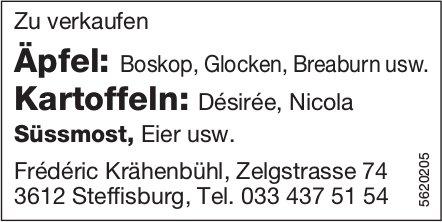 Äpfel, Kartoffeln, Süssmost, Eier usw. zu verkaufen - Frédéric Krähenbühl