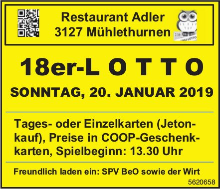 Restaurant Adler, Mühlethurnen - 18er-LOTTO am 20. Januar