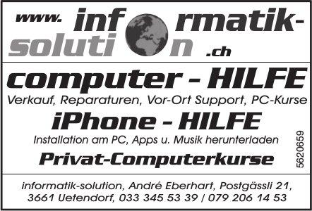 Informatik-solution - Computer-Hilfe, iPhone-Hilfe, Privat-Computerkurse