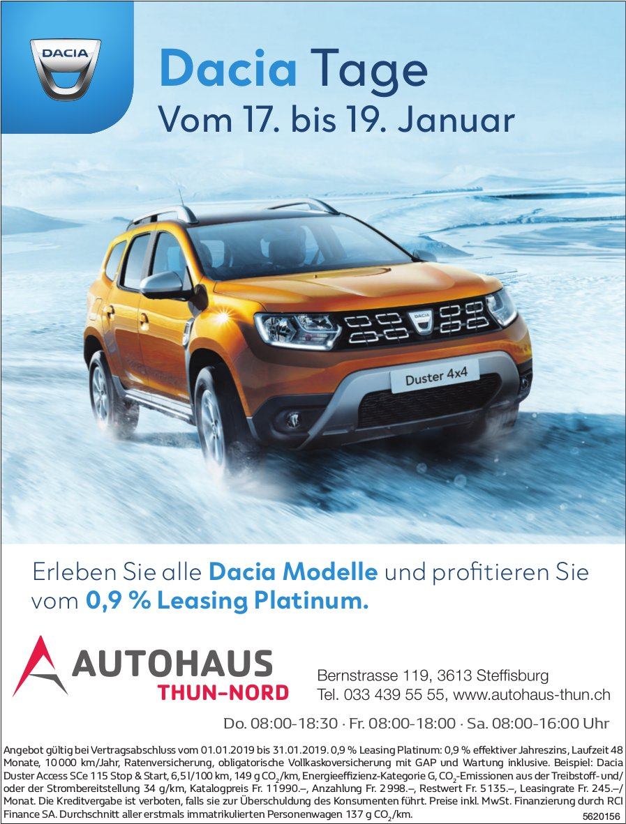 AUTOHAUS THUN-NORD - Dacia Tage vom 17. bis 19. Januar