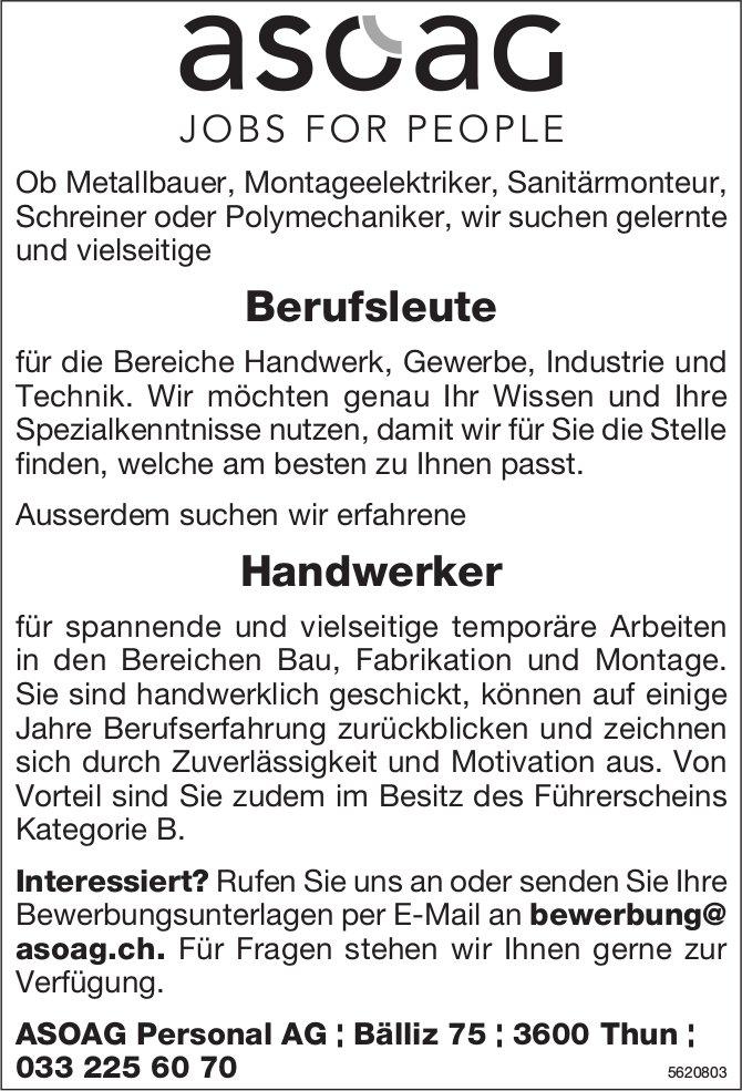 Berufsleute & Handwerker, ASOAG Personal AG, Thun, gesucht