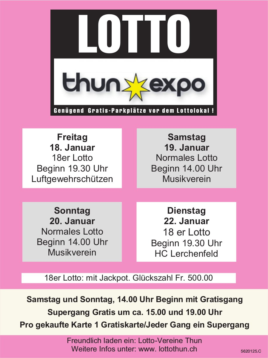 LOTTO Thun Expo - 18./19./20./22. Januar