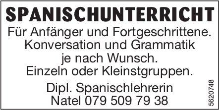 SPANISCHUNTERRICHT - Für Anfänger und Fortgeschrittene.