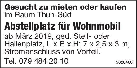 Abstellplatz für Wohnmobil im Raum Thun-Süd zu mieten oder kaufen gesucht