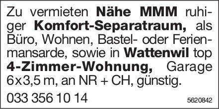 Komfort-Separatraum Nähe MMM sowie 4- -Zimmer-Wohnung in Wattenwil zu vermieten