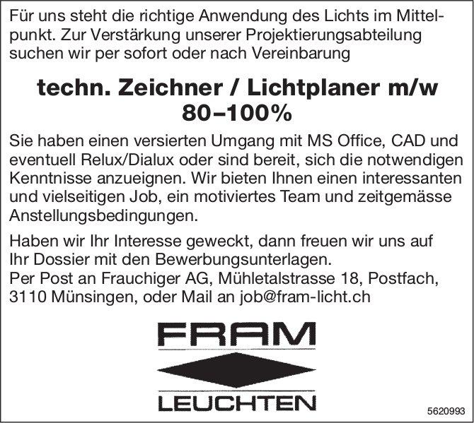 Techn. Zeichner / Lichtplaner m/w 80–100%, Frauchiger AG, Münsingen, gesucht