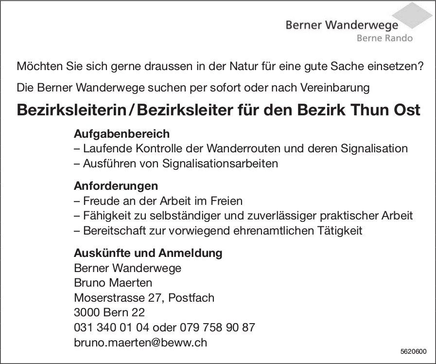 Bezirksleiterin / Bezirksleiter für den Bezirk Thun Ost, Berner Wanderwege, gesucht