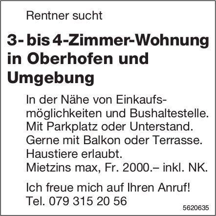 3- bis 4-Zimmer-Wohnung in Oberhofen und Umgebung gesucht