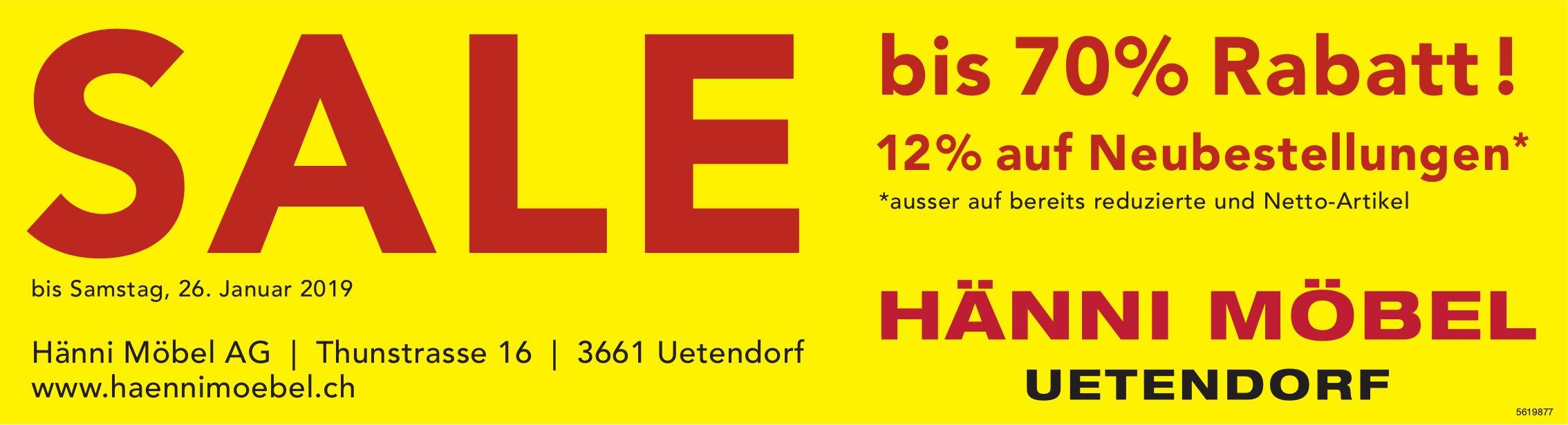 SALE bis 70% Rabatt!, HÄNNI MÖBEL, UETENDORF