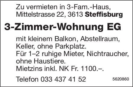 3-Zimmer-Wohnung EG in Steffisburg zu vermieten