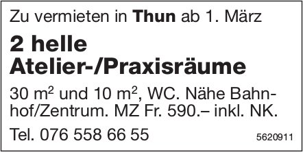 2 helle Atelier-/Praxisräume in Thun zu vermieten