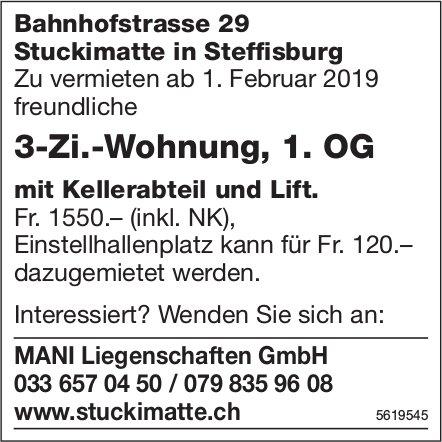 3-Zi.-Wohnung, 1. OG in Stuckimatte in Steffisburg zu vermieten