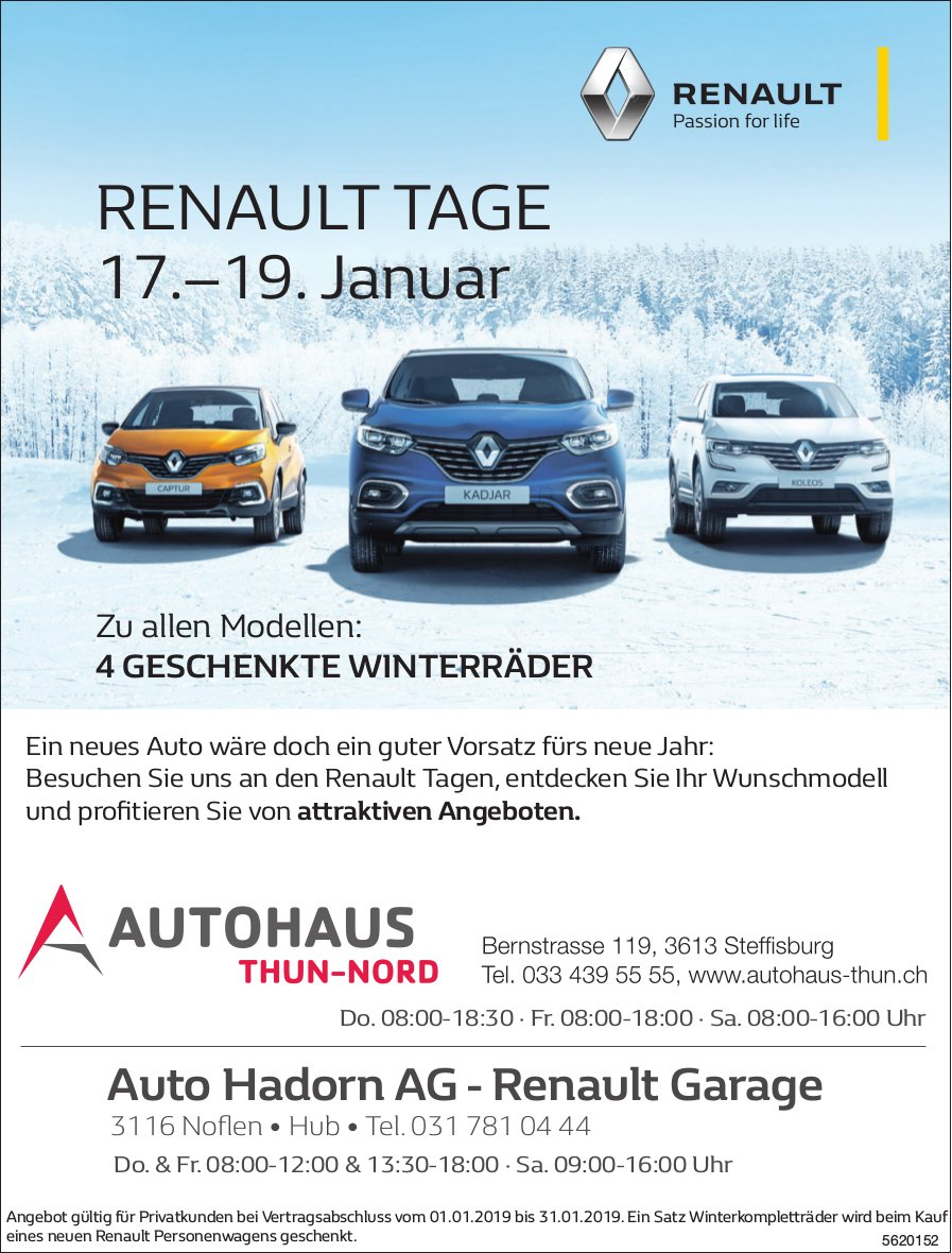 Autohaus Thun-Nord/ Auto Hadorn AG - RENAULT TAGE, 17.–19. Januar