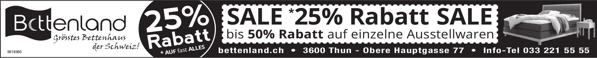 Bettenland, grösstes Bettenhaus der Schweiz! - 25% Rabatt Sale