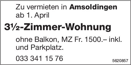 3½-Zimmer-Wohnung in Amsoldingen zu vermieten