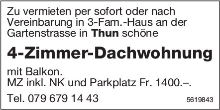 4-Zimmer-Dachwohnung in Thun zu vermieten