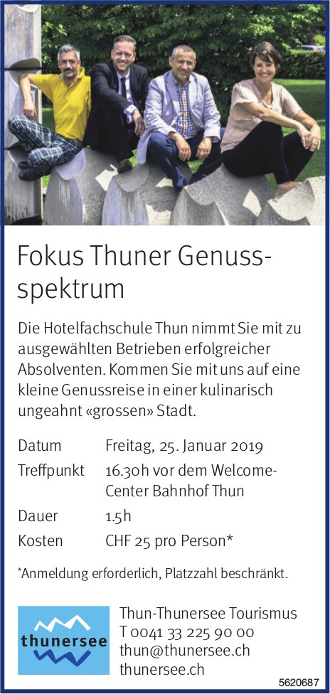 Thun-Thunersee Tourismus - Fokus Thuner Genussspektrum am 25. Januar