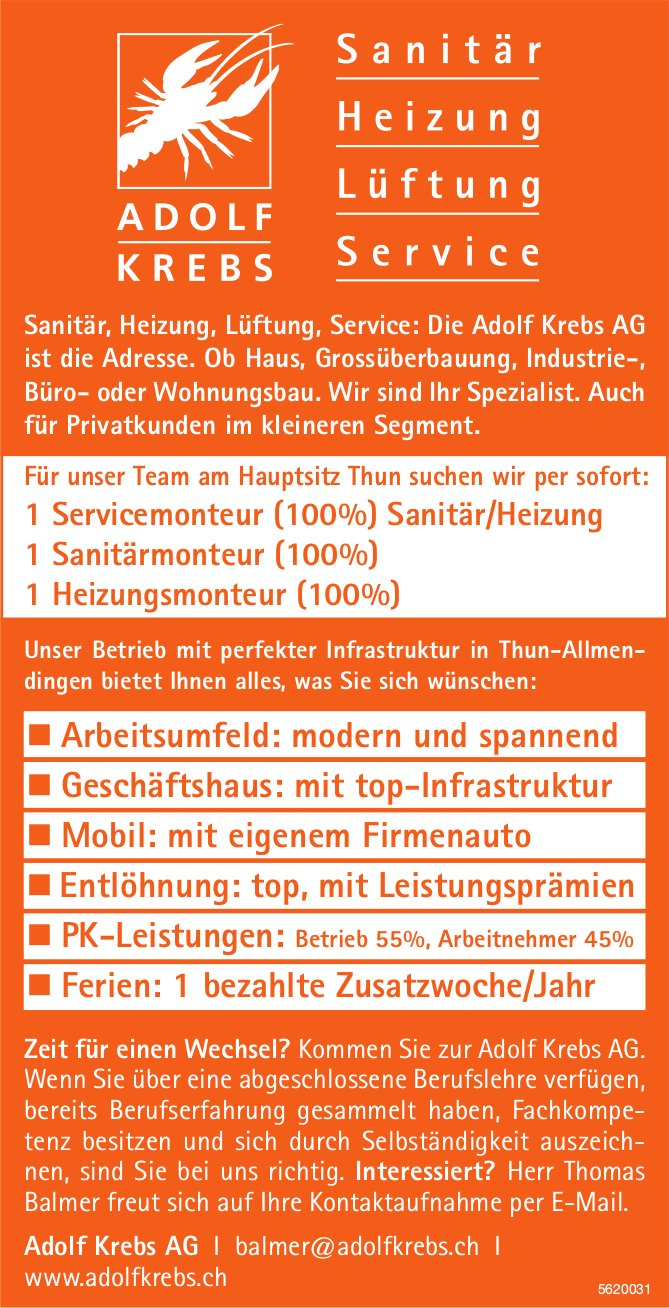 Servicemonteur (100%), Sanitärmonteur (100%), Heizungsmonteur (100%), Adolf Krebs AG, Thun, gesucht