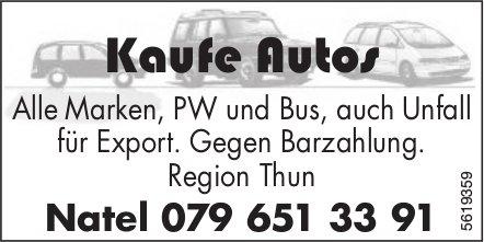 Kaufe Autos - Alle Marken, PW und Bus, auch Unfall für Export.