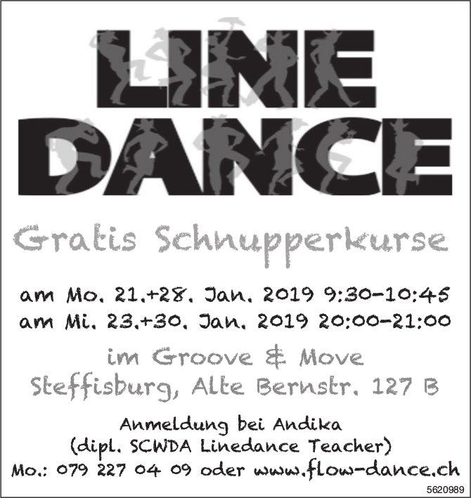 LINE DANCE, Gratis Schnupperkurse, 21./23./28. + 30. Januar, Steffisburg