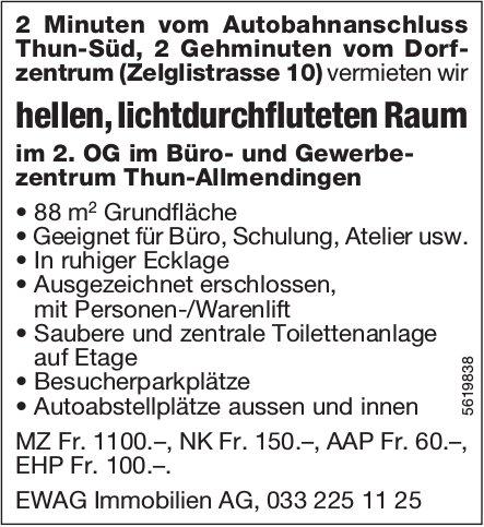 Hellen, lichtdurchfluteten Raum im Büro- und Gewerbezentrum Thun-Allmendingen zu vermieten