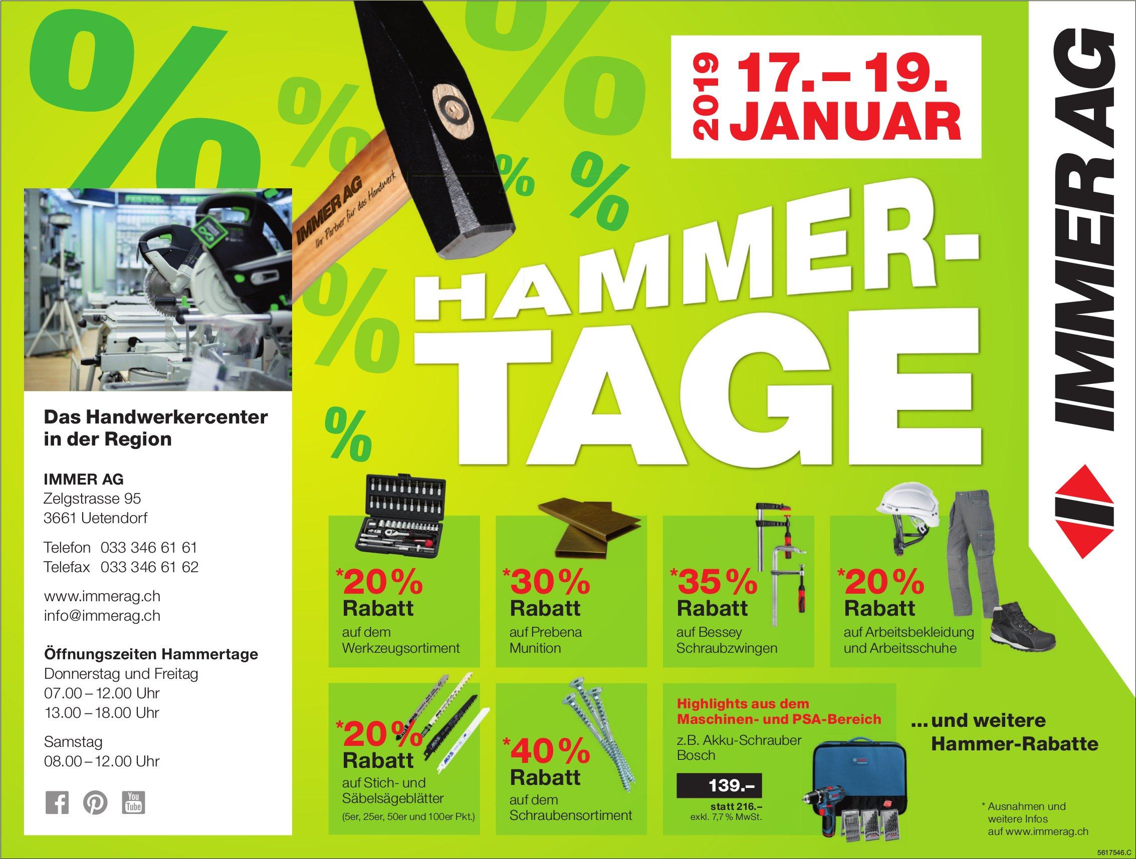 HAMMER-TAGE, 17. - 19. JANUAR, IMMER AG, Uetendorf