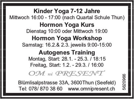 OM ni PRESENT - Kinder Yoga, Hormon Yoga Kurs/ Workshop uvm.