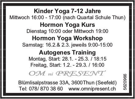 OM ni PRESENT - Kinder Yoga, Hormon Yoga Kurs/ Workshop uvm.