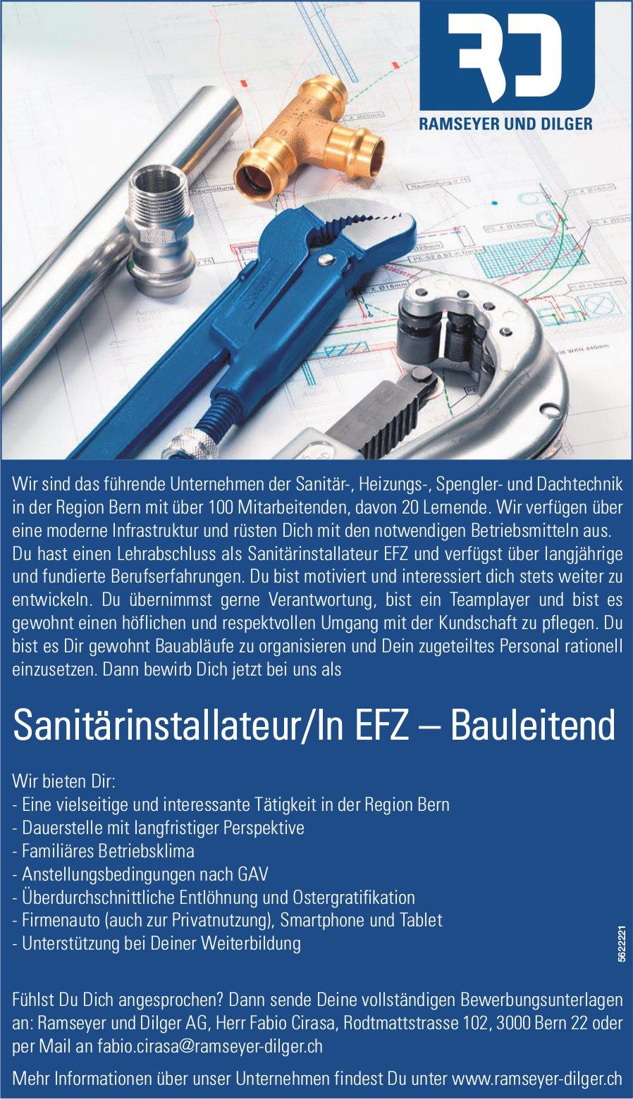 Sanitärinstallateur/In EFZ – Bauleitend, Ramseyer und Dilger AG, Bern, gesucht
