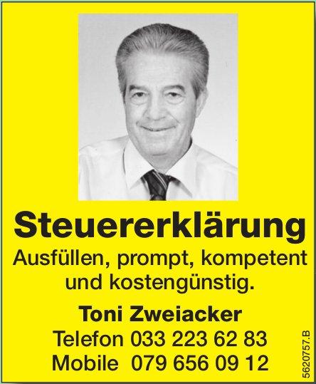 Toni Zweiacker - Steuererklärung, ausfüllen, prompt, kompetent und kostengünstig.