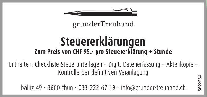Grunder Treuhand, Thun - Steuererklärungen