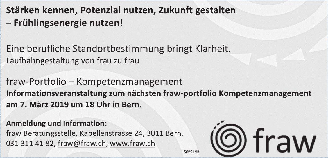 fraw-Portfolio, Kompetenzmanagement - Informationsveranstaltung am 7. März in Bern