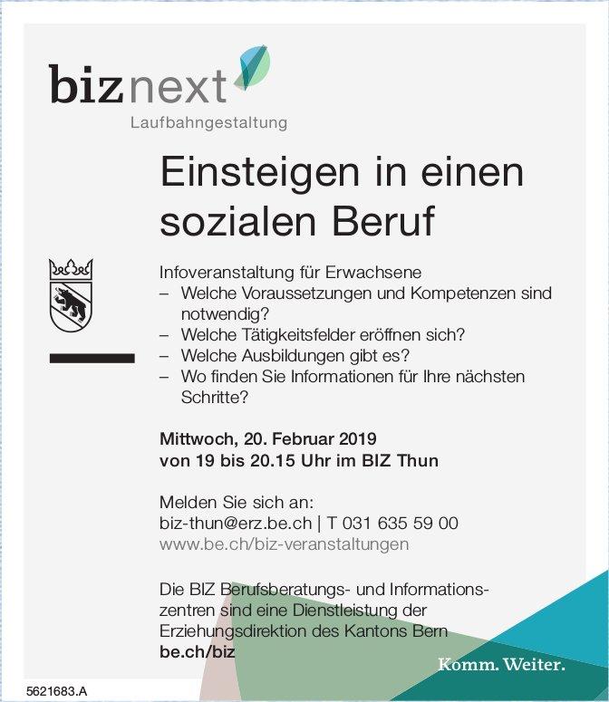 BIZ - Einsteigen in einen sozialen Beruf: Infoveranstaltung für Erwachsene am 20. Februar