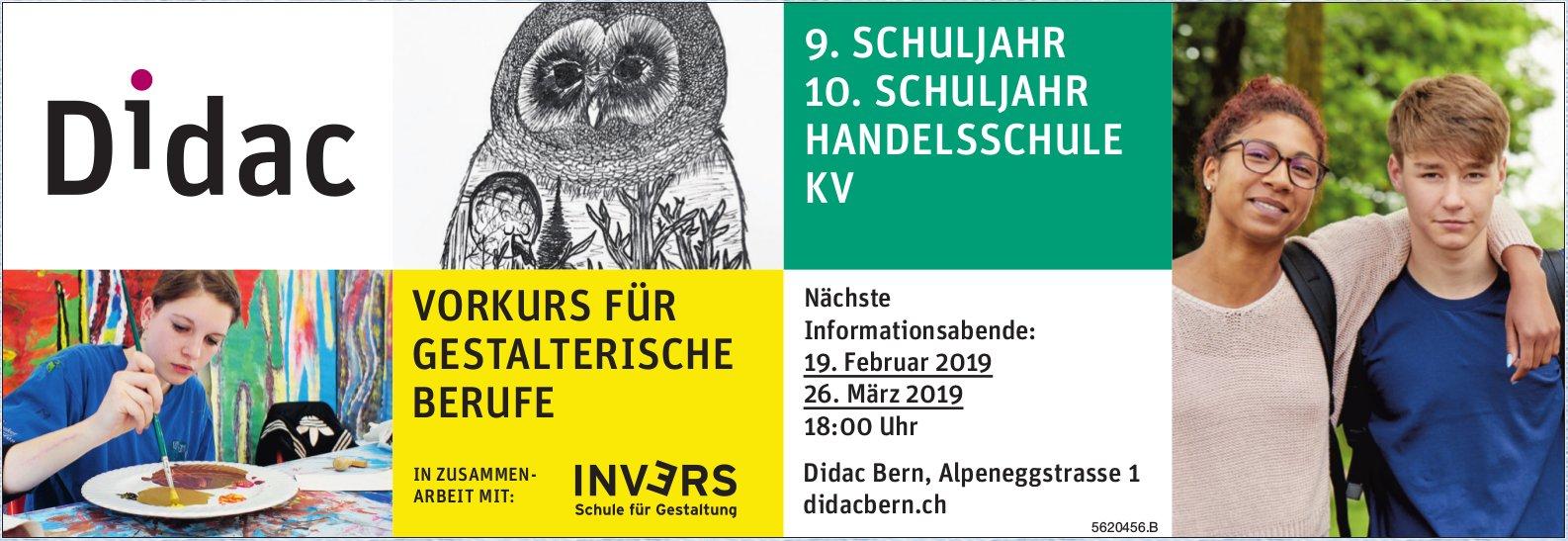 Didac - 9. + 10.Schuljahr Handelschule KV: Nächste Informationsabende 19. Feb. + 16. März