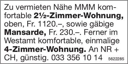 2½-Zimmer-Wohnung sowie Mansarde Nähe MMM + 4-Zimmer-Wohnung im Westamt zu vermieten