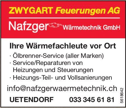 ZWYGART Feuerungen AG/ Nafzger Wärmetechnik GmbH - Ihre Wärmefachleute vor Ort
