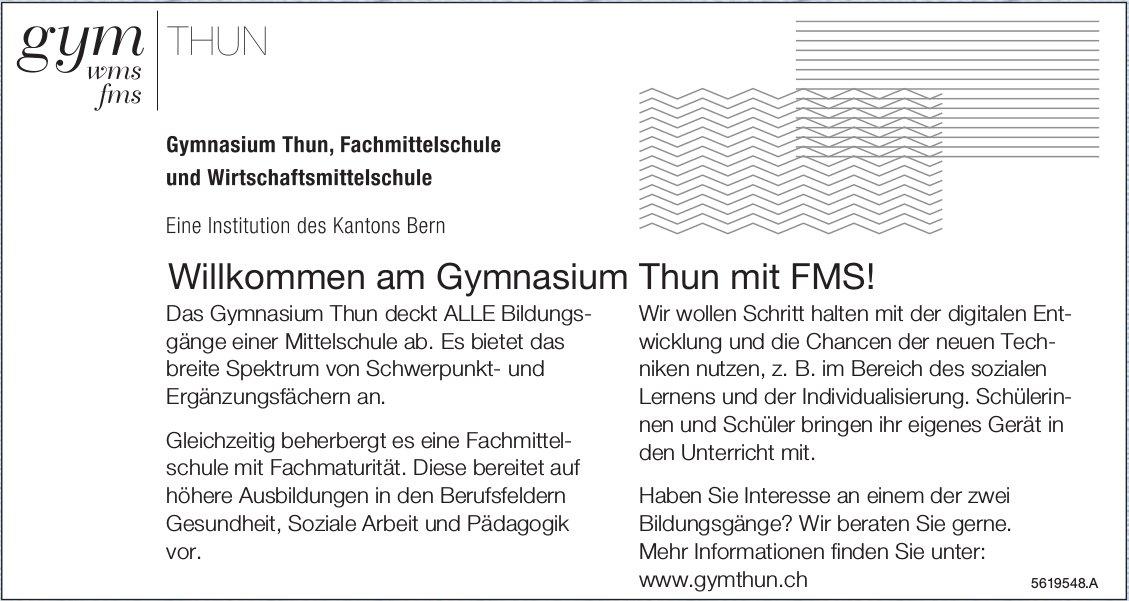 Willkommen am Gymnasium Thun mit FMS!