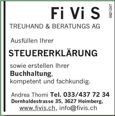 Fi Vi S TREUHAND & BERATUNGS AG, Heimberg - Ausfüllen Ihrer STEUERERKLÄRUNG
