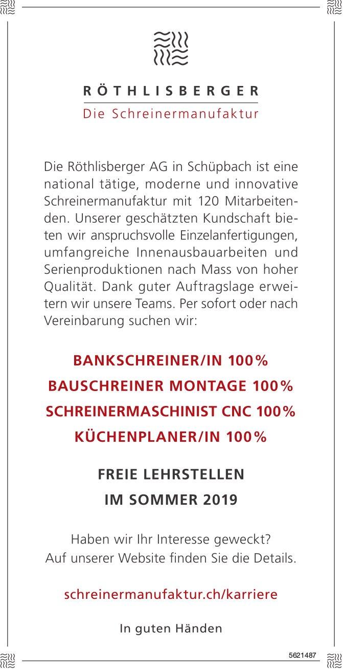 BANKSCHREINER/IN 100%, BAUSCHREINER MONTAGE 100%, SCHREINERMASCHINIST CNC 100%, KÜCHENPLANER/IN