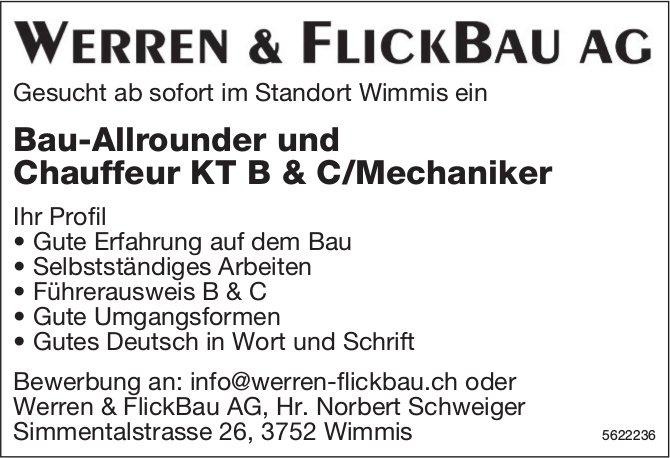 Bau-Allrounder und Chauffeur KT B & C/Mechaniker, Werren & FIickBau AG, Wimmis, gesucht