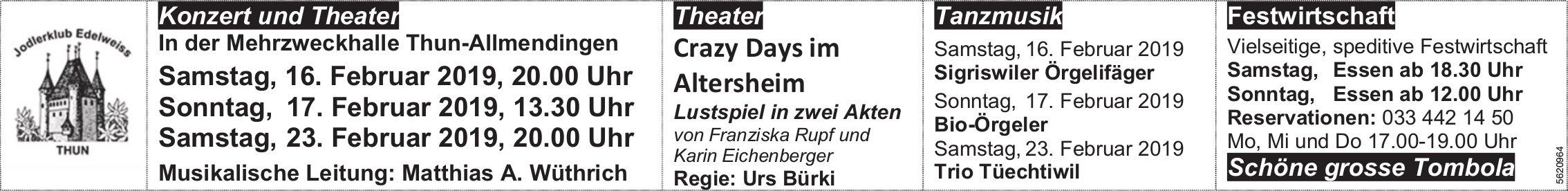 Jodlerklub Edelweiss Thun - Konzert und Theater in Thun-Allmendingen, 16./17./23. Februar