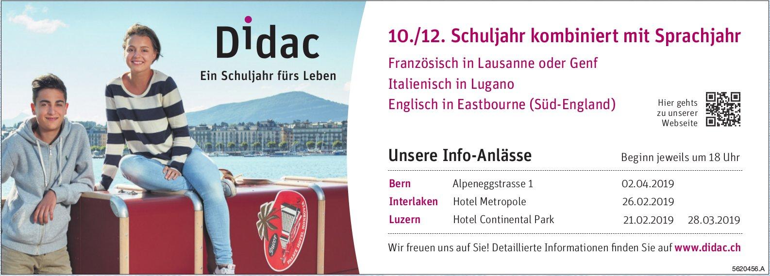 Didac - 10./12. Schuljahr kombiniert mit Sprachjahr: Unsere Info-Anlässe
