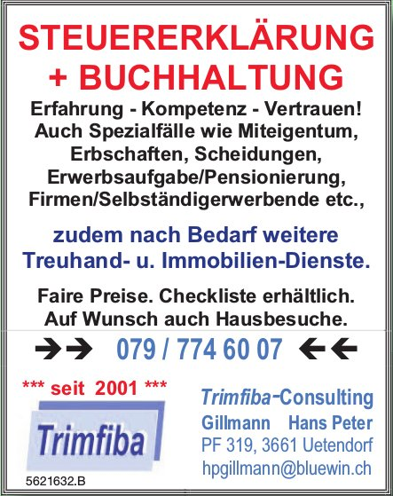 Trimfiba-Consulting, Uetendorf - STEUERERKLÄRUNG + BUCHHALTUNG