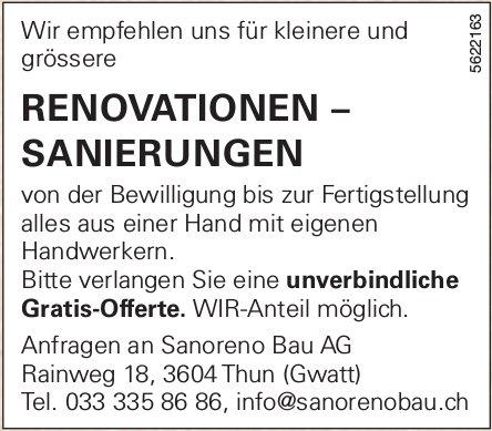 Sanoreno Bau AG - RENOVATIONEN – SANIERUNGEN