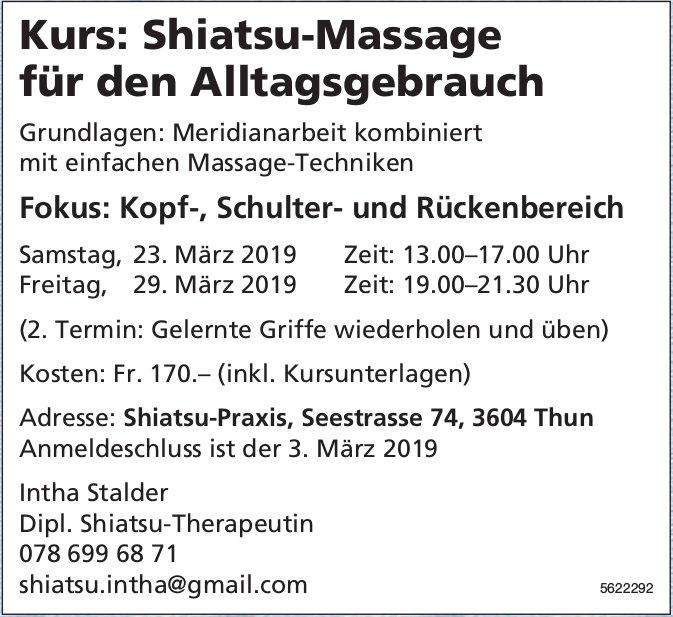 Kurs: Shiatsu-Massage für den Alltagsgebrauch, 23. + 29. März