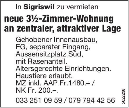 Neue 3½-Zimmer-Wohnung in Sigriswil zu vermieten